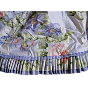 Long Laura Ashley Style Cotton Sateen Valance..Custom Made..Blues, Pink Flowers & Green Foliag