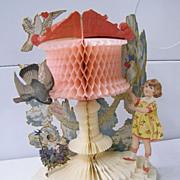 Victorian VALENTINE ..Girl & Birds..Red, Peach, & Ivory Honeycomb..Die Cut