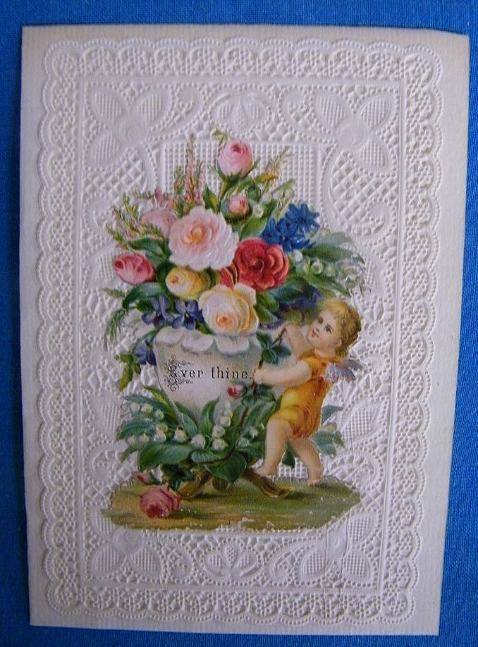 Victorian Valentine Greeting Card Ever Thine Lacy Die