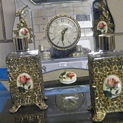 Mid-Century Rose Cameo  Vanity Set...Electric Clock...Picture Frame Or Tray..2 Filigree Perfum