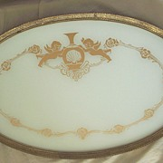 Vintage..Large Putti / Cherub Design Vanity Tray With Embossed Metal Trim & Glass Enclosed..Di