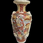 Antique Japanese Satsuma Meiji 19th Century Earthenware Large Vase..Signed