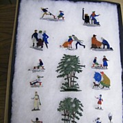 SALE PENDING German Victorian Style Cast Metal Ice-Skating Figurines...Double-Sided......Set 1