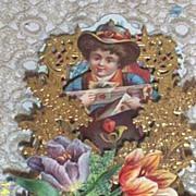 Victorian Paper German Valentine..Boy In Hat With Box Of Roses & Valentine..3-D..Pop-Up..Dye C