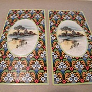 Victorian Cardboard Box Inserts...Country Winter Scene Cameo..Tile Design Background..New Cond