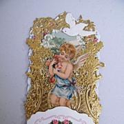 Victorian Friendship Card Boy Angel Blue Sash Dove..Die Cut..Gold Embossed..Germany..New Condi