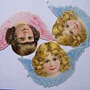 Victorian Die Cut Angel Scraps..Blonde & Brown Curls With Pink & Blue Wings..Set Of 3 ...