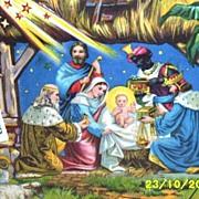 Large..Victorian Vintage Paper..Nativity Scene..Gloria In Excelsis Deo..Die-Cut..Embossed..Ger