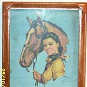 1930's..Calendar Girl...Cow Girl Framed Print..Signed