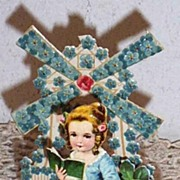 Victorian Girl Greeting Card..Windmill Of For-Get-Me-Nots..Fold-Out..Die-Cut..Embossed..German