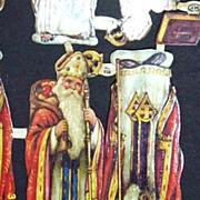 Vintage  Paper Scraps..St. Nicholas With.. Bible..Toy Bag..Staff..Die-Cut..Embossed..MP Englan