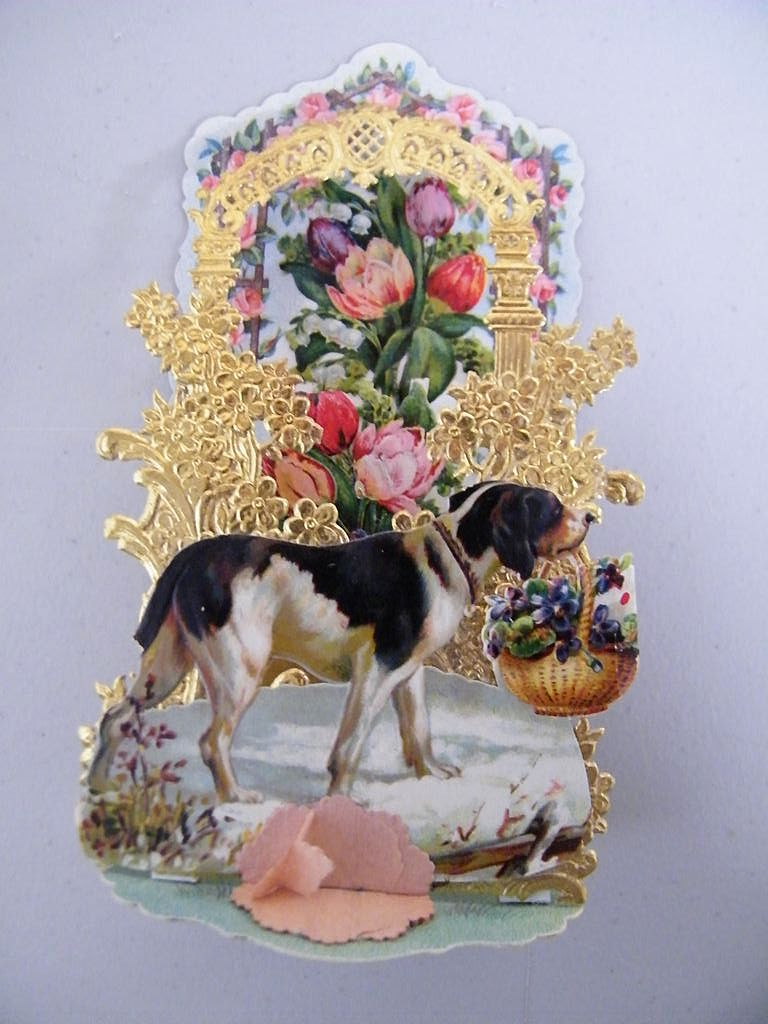 German Victorian Pop Up Card Dog With Black Amp White Spots