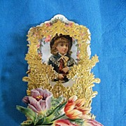 SOLD Victorian Pop-Up VALENTINE..Girl Holding Horse..Dye-Cut..Gold Embossed Foil..MINT