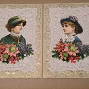 Victorian Picture Collages..Set..2 Victorian Woman Wearing Hats..Embossed & Die-Cut. ...