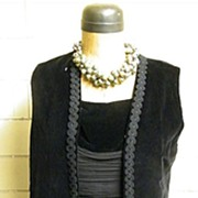 Vintage Black Silk Chiffon Dress With A Coordinating Black Velvet Tunic..Mid Century