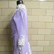 SALE Lavender Dream.. Silk Organza Victorian Style Dress With Short Train & Embroidered Trim..