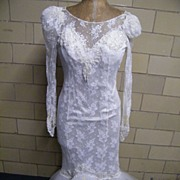 MERMAID Lace Wedding Gown With Matching Long Veil..By Westchester Designer Constance McCardle