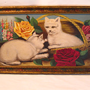Early 20Th Century Primitive Painting of Cats.....