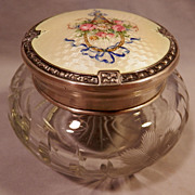 "SOLD ""On Hold for Mary""   Guilloche Enamel on Sterling Crystal Dresser Jar...."