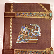 SOLD 19Th Century Leather Bound Journal w/ Enamel and Brass Trim...