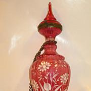 Cranberry Bohemian Glass Perfume Bottle...