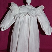 REDUCED Antique Doll Dress in Kate Greenaway Style, White Cotton