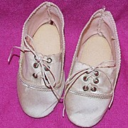 Pair of Antique pale pink silk doll shoes