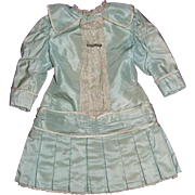 "SALE Aqua Silk Taffeta Dress for 28"" Antique Doll (early 20th century)"