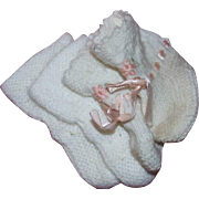2 Pair vintage knitted white doll booties