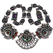 """SOLD 1940's Rare CEL Turkey Jewel Encrusted Mexican Sterling Silver Repousse Necklace 24"""""""