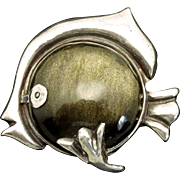 Rare Hector Aguilar Taxco Mexican Obsidian Fish .940 Silver Pin/Brooch