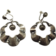"""Early Mexican Ruffled Band With Beads Sterling Silver Dangle Earrings 2 1/8"""""""