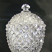 Flint Glass Covered Sugar - Sawtooth Pattern  - Boston Sandwich Company –  Circa: 1850's