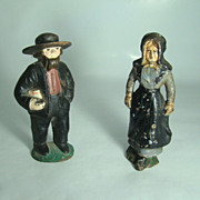 Cast Iron Amish Couple Doorstop/Bookends  Circa: Early to Mid 1900's