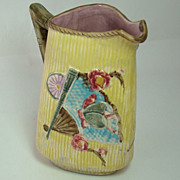 Tri-Corner Majolica Pitcher with Bamboo, Fans, Butterflies and Cricket Motif