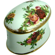 "Oval Trinket Box ""Old Country Rose"" – Royal Albert, Bone China, England"