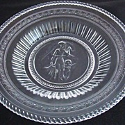Early American Pattern Glass Serving Plate - Minerva/Cupid & Venus Pattern