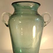 Hand Blown Moss Green Glass Vase