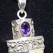 Sterling Silver Pendant Necklace with Garnet and Lapis Stones