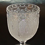 "SALE PENDING Flint Glass Egg Cup – ""Loop and Dart"" Pattern - Portland Glass Co. Circa 18"