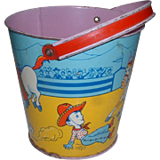 Vintage J Chein Tin Child's Rodeo Lithograph Sand Pail Toy