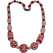 Vintage Deco Style Red and White Galalith Carved Necklace