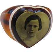 Vintage BEST Celluloid Prison Style Ring with Plucky Lady Picture