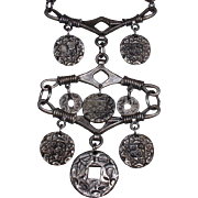Vintage 1960's Coro Necklace with Dangles and Drops Silvertone
