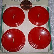 SOLD Vintage Set 4 Mint on Card Large Red Bakelite Buttons - Red Tag Sale Item