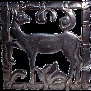 Pretty Art Deco Designed DAKS Sterling Silver Deer Brooch Pin
