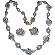 Vendome Signed Vintage Shiny Crystals Rhinestones and Faux Pearl Necklace Set