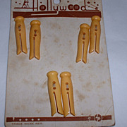 SOLD Vintage Bakelite Buttons MOC Clothes Pin Figurals Set 6