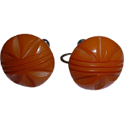 3 Pairs Bakelite Earrings Cream, Butterscotch and Brown