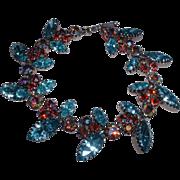 Stunning Vintage Austrian Aqua A/B Rhinestone Link Bracelet